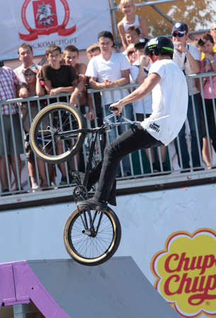 MOSCOW, RUSSIA - JULY 8 Alexander Nikulin, Russia, in BMX\ competitions during Adrenalin Games in Moscow, Russia at July 8,\ 2012\