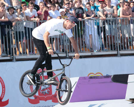adrenalin: MOSCOW, RUSSIA - JULY 8  Nikita Zharkov, Russia, in BMX competitions during Adrenalin Games in Moscow, Russia at July 8, 2012