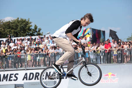 adrenalin: MOSCOW, RUSSIA - JULY 8  Denis Stepanov in BMX competitions during Adrenalin Games in Moscow, Russia at July 8, 2012 Editorial