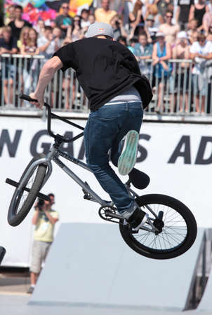adrenalin: MOSCOW, RUSSIA - JULY 8  Sean Ricany, USA, in BMX competitions during Adrenalin Games in Moscow, Russia at July 8, 2012 Editorial