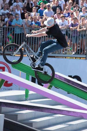 sean: MOSCA, RUSSIA - 8 luglio Sean Ricany, Stati Uniti d'America, in competizioni BMX durante i giochi adrenalina a Mosca, Russia 8 luglio 2012