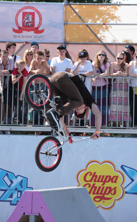 MOSCOW, RUSSIA - JULY 8 Christian Rigal, USA, in BMX\ competitions during Adrenalin Games in Moscow, Russia at July 8,\ 2012\
