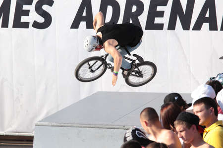 adrenalin: MOSCOW, RUSSIA - JULY 8  Konstantin Andreev, Russia, in BMX competitions during Adrenalin Games in Moscow, Russia at July 8, 2012 Editorial