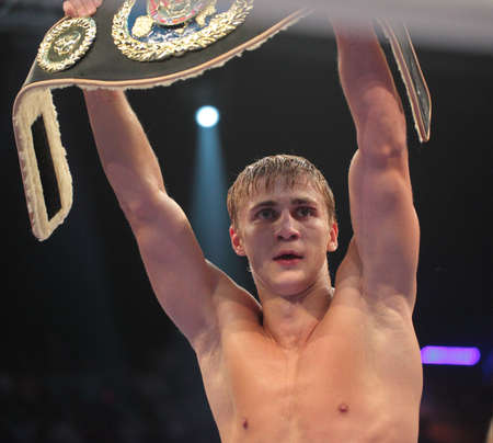 odessa: ODESSA, UKRAINE - JULY 21: Alexander Spirko win the WBO European light middleweight title in Odessa, Ukraine at July 21, 2012 Editorial