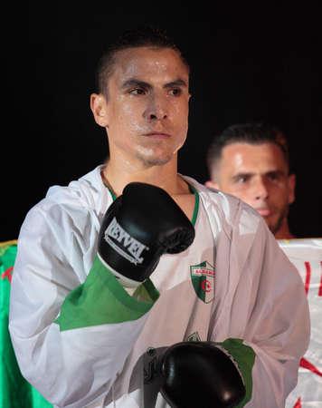 bout: Odessa, Ucrania - 21 de julio: Mohamed Belkacem antes de la pelea con Vyacheslav Uzelkov de la OMB Inter-Continental del t�tulo de peso semipesado en Odessa, Ucrania en 21 de julio 2012