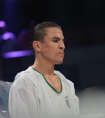 bout: ODESSA, UCRANIA - 21 DE JULIO: Mohamed Belkacem antes de la pelea con Vyacheslav Uzelkov por la OMB Inter-Continental t�tulo de peso semipesado en Odessa, Ucrania, en 21 de julio 2012