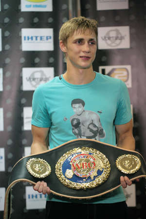 ODESSA, UKRAINE - JULY 21: Alexander Spirko with  the WBO European light middleweight belt in Odessa, Ukraine at July 21, 2012