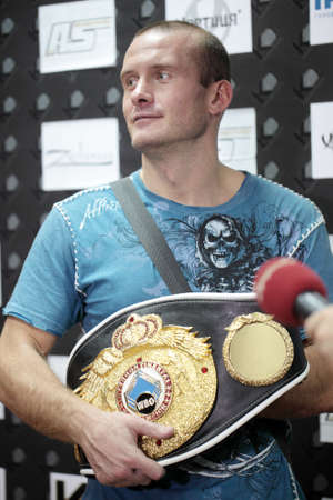 ODESSA, UKRAINE - JULY 21: Vyacheslav Uzelkov after the fight with Mohamed Belkacem for WBO Inter-Continental light heavyweight title in Odessa, Ukraine at July 21, 2012