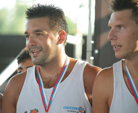 international basketball: MOSCOW, RUSSIA - JULY 28  Romanian team  Carpathian Bears  take the second place during International Street Basketball Cup  Moscow Open  in Moscow, Russia at July 28, 2012