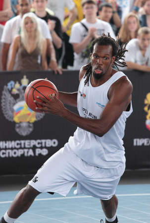 international basketball: MOSCOW, RUSSIA - JULY 28  Match  Open Run Elite , Netherlands vs DTI, Russia during International Street Basketball Cup  Moscow Open  in Moscow, Russia at July 28, 2012