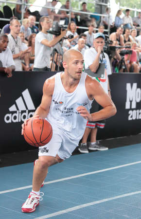 international basketball: MOSCOW, RUSSIA - JULY 28  Match FISB Streetball Italy vs Bwin com, Slovenia during International Street Basketball Cup  Moscow Open  in Moscow, Russia at July 28, 2012 Editorial