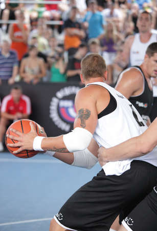 international basketball: MOSCOW, RUSSIA - JULY 28  Match Shatskov team, Russia vs  Czech Select , Czech Republic during International Street Basketball Cup  Moscow Open  in Moscow, Russia at July 28, 2012