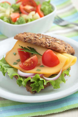meatless: Sandwich with rye bread, yellow cheese, cherry tomato, red onion, lettuce, and parsley Stock Photo