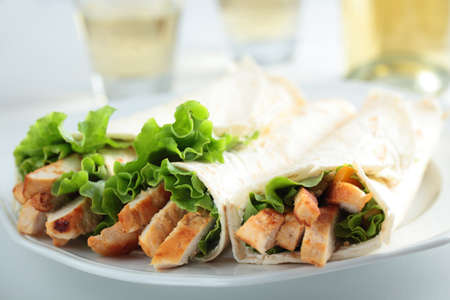 chicken meat: Burrito with chicken meat and lettuce