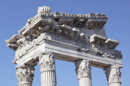reconstructed: Reconstructed fragment of the Temple of Trajan in ancient Pergamon, Bergama, Turkey Stock Photo