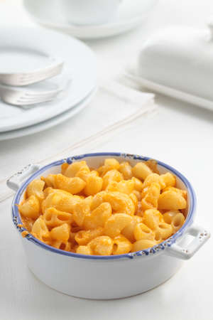 meatless: Macaroni cheese in a baking dish Stock Photo