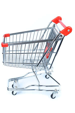 Supermarket cart against white background Stock Photo - 17359328