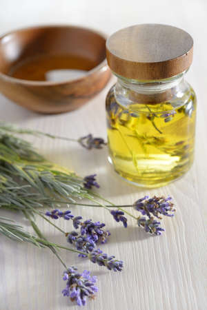 Bunch of lavender and lavender oil