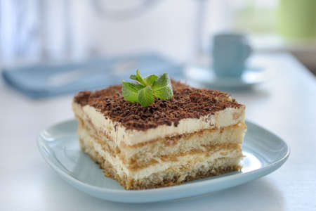 Tiramisu on a blue plate photo