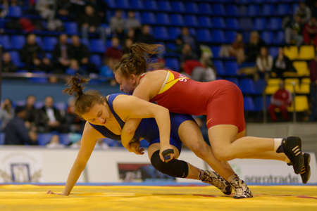 female wrestling: Kiev, Ukraine - February 16, 2013  Match between Natalya Synyshyn, Ukraine, red and Iryna Husiak, Ukraine during XIX International freestyle wrestling and female wrestling tournament in Kiev, Ukraine on February 16, 2013