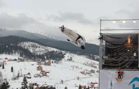 morris: Bukovel, Ukraine - February 23, 2013: David Morris, Australia performs aerial skiing during Freestyle Ski World Cup in Bukovel, Ukraine on February 23, 2013. Editorial