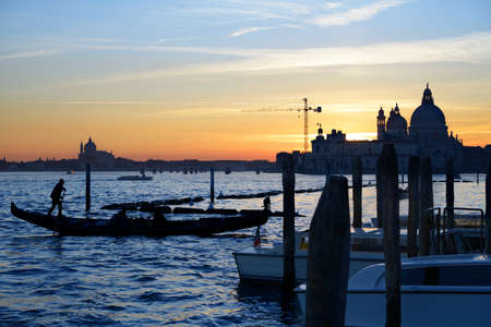 Sunset on San Marco canal in Venice, Italy photo