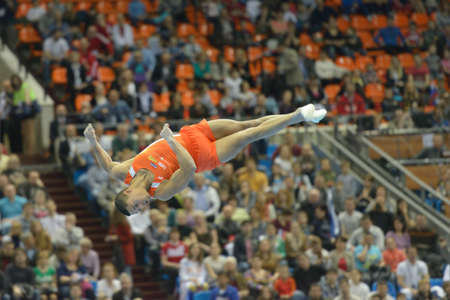 jeffrey: Moscow, Russia - April 20, 2013  Jeffrey Wammes, Netherlands performs the floor exercise in the final of 5th European Championships in Artistic Gymnastics in Moscow, Russia on April 20, 2013 Editorial