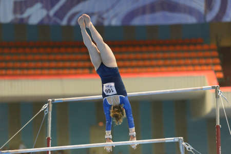 ida: Moscow, Russia - April 20, 2013  Ida Gustafsson, Sweden performs exercise on uneven bars in final of 5th European Championships in Artistic Gymnastics in Moscow, Russia on April 20, 2013 Editorial