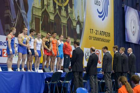 finalistin: Moskau, Russland - 21. April 2013: Finalist in Gew�lbe vor der Endrunde der 5. Europameisterschaften im Kunstturnen in Moskau, Russland am 21. April 2013