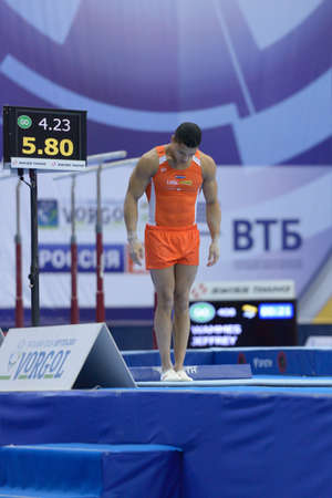 jeffrey: Moscow, Russia - April 21, 2013: Jeffrey Wammes, Netherlands is ready to perform vault in final of 5th European Championships in Artistic Gymnastics in Moscow, Russia on April 21, 2013