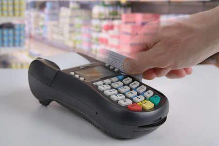 sales bank: Credit card reader in action