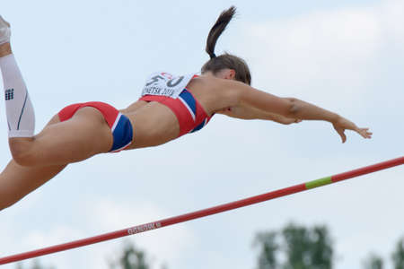 vaulting: Donetsk, Ukraine - July 11, 2013: Lene Onsrud Retzius of Norway competes in Pole Vault during 8th IAAF World Youth Championships in Donetsk, Ukraine on July 11, 2013