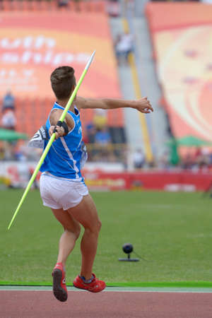 simone: Donetsk, Ukraine - July 11, 2013: Simone Fassina of Italy in the semi-final of javelin throw competition in Octathlon during 8th IAAF World Youth Championships in Donetsk, Ukraine on July 11, 2013 Editorial