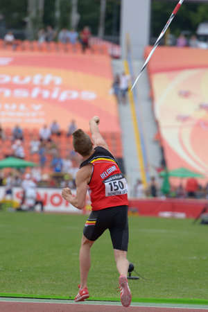 javelin throw: Donetsk, Ukraine - July 11, 2013: Tobias Capiau of Belgium in the semi-final of javelin throw competition in Octathlon during 8th IAAF World Youth Championships in Donetsk, Ukraine on July 11, 2013
