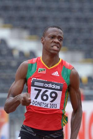 warren: Donetsk, Ukraine - July 11, 2013: Warren Hazel of Saint Kitts And Nevis competes in semi-final of 400 metres during 8th IAAF World Youth Championships in Donetsk, Ukraine on July 11, 2013