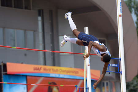 Donetsk, Ukraine - July 12, 2013: Alioune Sene of France competes in Pole Vault during 8th IAAF World Youth Championships in Donetsk, Ukraine on July 12, 2013