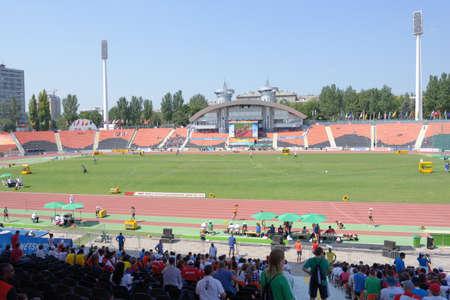 rsc: Donetsk, Ukraine - July 13, 2013: People on the Stadium RSC Olimpiyskiy during 8th IAAF World Youth Championships in Donetsk, Ukraine on July 13, 2013 Editorial