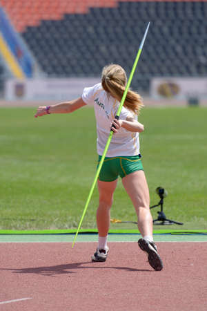 javelin throw: Donetsk, Ukraine - July 13, 2013: Alysha Burnett of Australia competes in the javelin throw in Heptathlon girls during 8th IAAF World Youth Championships in Donetsk, Ukraine on July 13, 2013