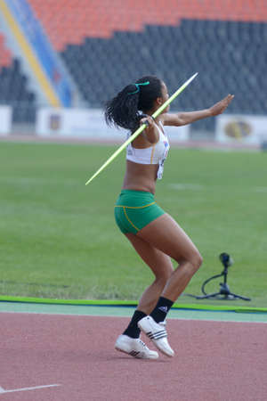 javelin throw: Donetsk, Ukraine - July 13, 2013: Aliyah Johnson of Australia competes in the javelin throw in Heptathlon girls during 8th IAAF World Youth Championships in Donetsk, Ukraine on July 13, 2013