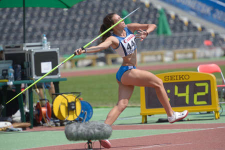 javelin throw: Donetsk, Ukraine - July 13, 2013: Lucia Quaglieri of Italy competes in the javelin throw in Heptathlon girls during 8th IAAF World Youth Championships in Donetsk, Ukraine on July 13, 2013