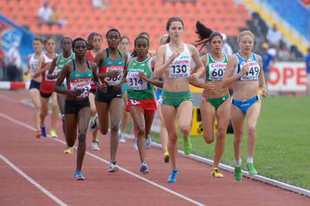 steeplechase: Donetsk, Ukraine - July 14, 2013: Girls compete in the final of 2000 metres steeplechase during 8th IAAF World Youth Championships in Donetsk, Ukraine on July 14, 2013 Editorial