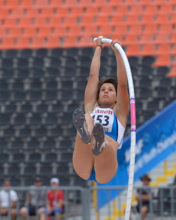 Donetsk, Ukraine - July 11, 2013: Francesca Semeraro of Italy competes in pole vault during 8th IAAF World Youth Championships in Donetsk, Ukraine on July 11, 2013