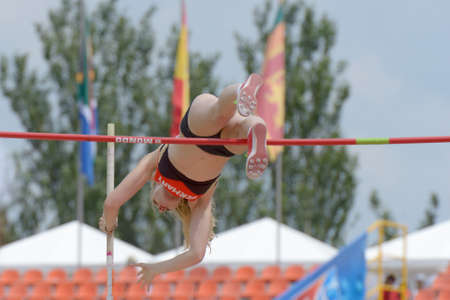 Donetsk, Ukraine - July 11, 2013: Franziska Heiss of Germany competes in pole vault during 8th IAAF World Youth Championships in Donetsk, Ukraine on July 11, 2013