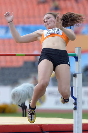 Donetsk, Ukraine - July 12, 2013: Inge Drost of Netherlands competes in high jump competition in Heptathlon during 8th IAAF World Youth Championships in Donetsk, Ukraine on July 12, 2013