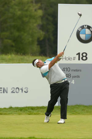 Moscow, Russia - July 27, 2013: Prom Meesawat of Thailand in action during 3rd round of the M2M Russian Open at Tseleevo Golf & Polo Club in Moscow, Russia on July 27, 2013