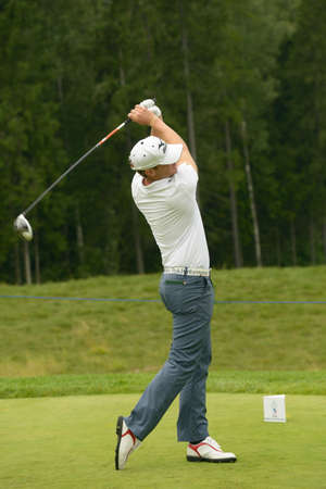 Moscow, Russia - July 28, 2013: Magnus A. Carlsson of Sweden in action during final round of the M2M Russian Open at Tseleevo Golf & Polo Club in Moscow, Russia on July 28, 2013