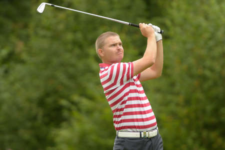 pga: Moscow, Russia - July 28, 2013: James Morrison of England in action during final round of the M2M Russian Open at Tseleevo Golf & Polo Club in Moscow, Russia on July 28, 2013 Editorial