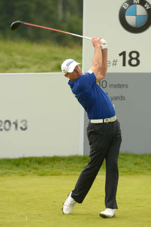 Moscow, Russia - July 28, 2013: James Kingston of South Africa in action during final round of the M2M Russian Open at Tseleevo Golf & Polo Club in Moscow, Russia on July 28, 2013