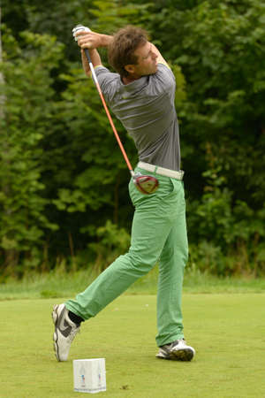 Moscow, Russia - July 28, 2013  Pablo Martin Benavides of Spain in action during final round of the M2M Russian Open at Tseleevo Golf   Polo Club in Moscow, Russia on July 28, 2013