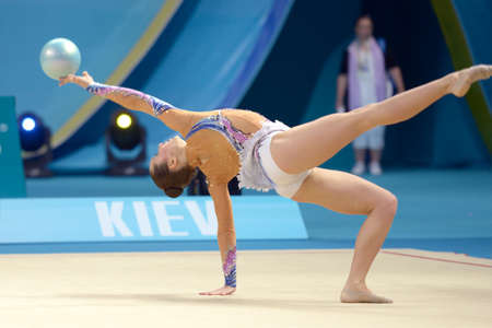 bulgaria girl: KIEV, UKRAINE - AUGUST 28, 2013:  Silviya Miteva of Bulgaria in action during the 32nd Rhythmic Gymnastics World Championships in Kiev, Ukraine on August 28, 2013
